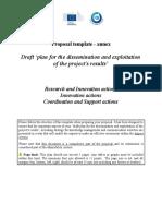 Annex - Part B Template_FCH_RIA_IA_CSA - Draft Plan Dissem & Expl of Results - Call2016 (ID 2871153)