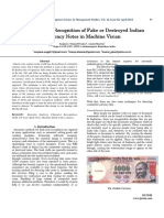 An Automated Recognition of Fake or Destroyed Indian Currency Notes in Machine Vision