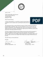 Gov. McCrory Letter