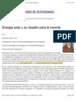 Energía solar y su desafío para la minería | Noticias Universidad de Antofagasta