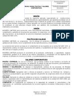 Mision Vision Politica Valores Corporativos v4 - 102015