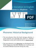 Allophonic Variation in English Phoneme