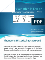 Allophonic Variation in English Phoneme