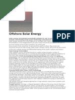 Offshore Solar Energy
