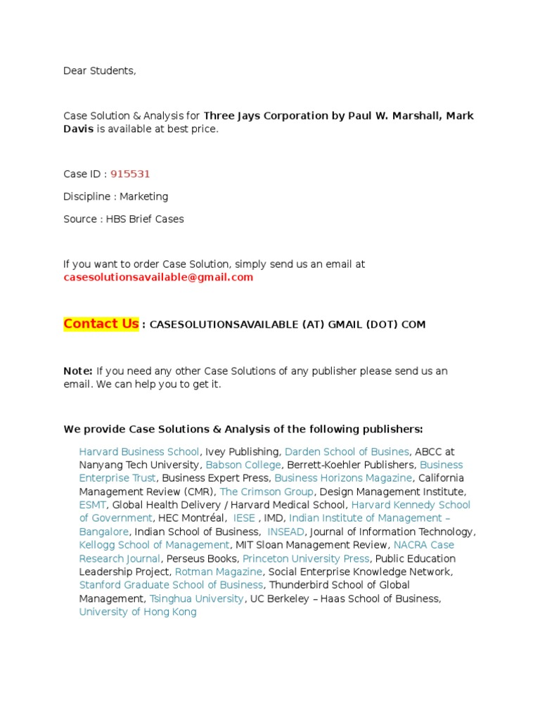 three jays corporation case solution