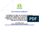 14 April, 2016 - Amb. Dr. Sezibera Statement at Signing Ceremony for Treaty of Accession to Eac by South Sudan April 2016