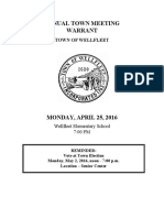 2016 Wellfleet Town Meeting Warrant