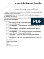Physics Important Definitions and Formulae Light and Waves