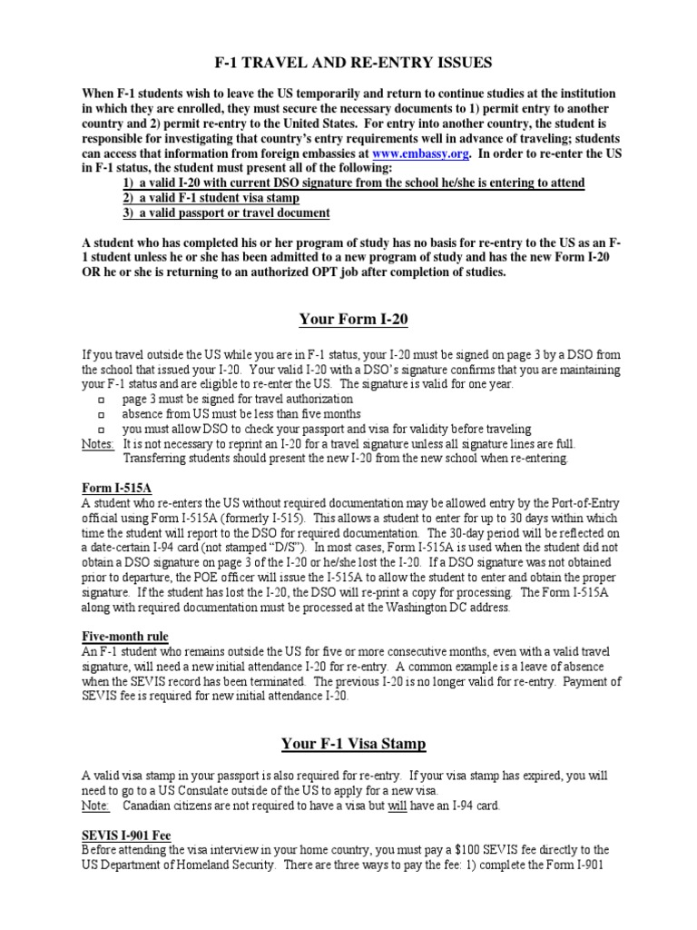 F-1 Travel and Re-Entry Handout   Travel Visa   Immigration Law