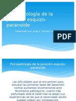 Psicopatología de La Posición Esquizo-paranoide
