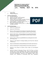 Watertown City School District April 19, 2016, Agenda