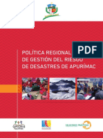 Política Regional de Gestión de Riesgo de Desastres en Apurimac