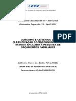 Consumo e Critérios de Classificação Socioeconômica