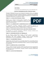 USM - Temario de Procesal PENAL I