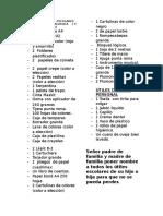 Lista de Útiles Escolares Del Inicial de Calasuca