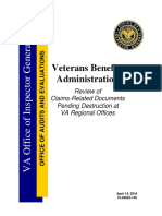 Review of Claims-Related Documents Pending Destruction at VA Regional Offices