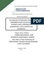 Estudio de Factibilidad Para La Implementación de Un Puesto Rodante en El Expendio de Sandwiches en El Distrito de Huancayo.