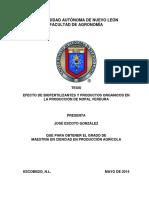 EFECTO DE BIOFERTILIZANTES Y PRODUCTOS ORGÁNICOS EN LA PRODUCCIÓN DE NOPAL VERDURA