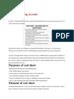 Cost Sheet Garment