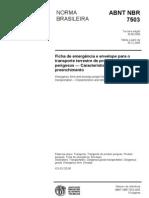 Abnt - Nbr 7503 - Ficha De Emergência E Envelope Para O Tranporte Terrestre De Produtos Perigosos