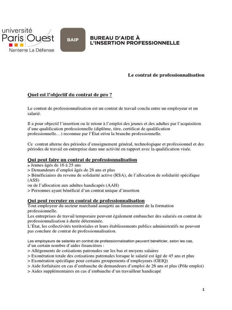 Fiche Synthe Contrat De Professionnalisation