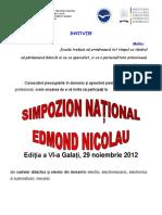 Invitatie Edmond Nicolau 2012 Galati