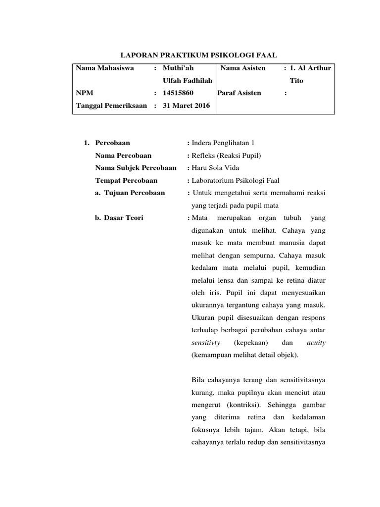 Laporan Praktikum Psikologi Faal 1 Indera Penglihatan