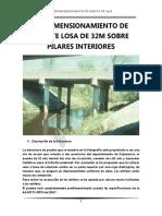 Predimensionamiento de Puente Losa de 32m Sobre Pilares Interiores