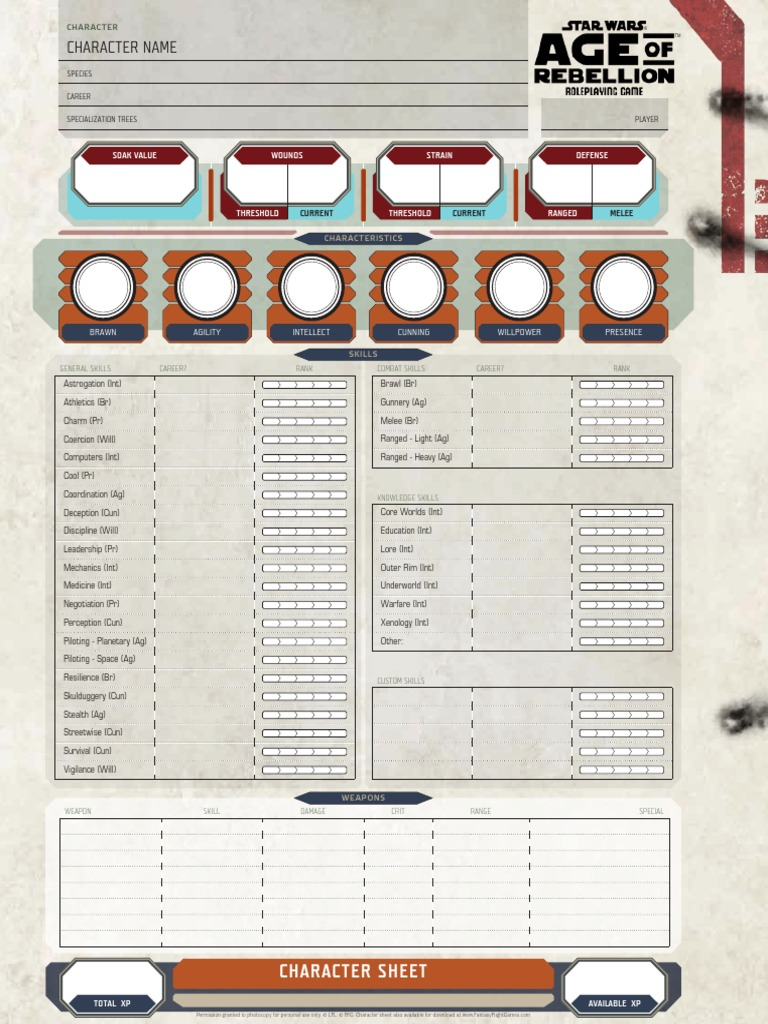 Age Of Rebellion Character Sheet 2