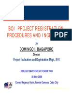 BOI Project Pegistration Procedures and Incentives
