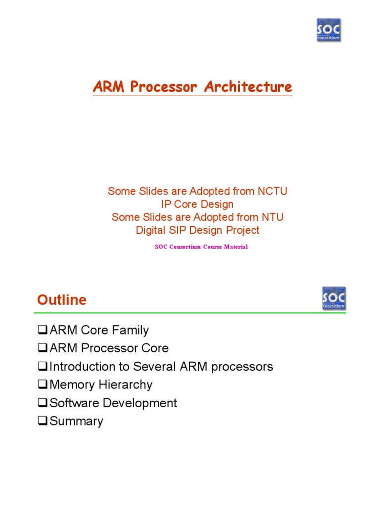 W3 081001 ARM Processor Architecture | Arm Architecture | Cpu Cache