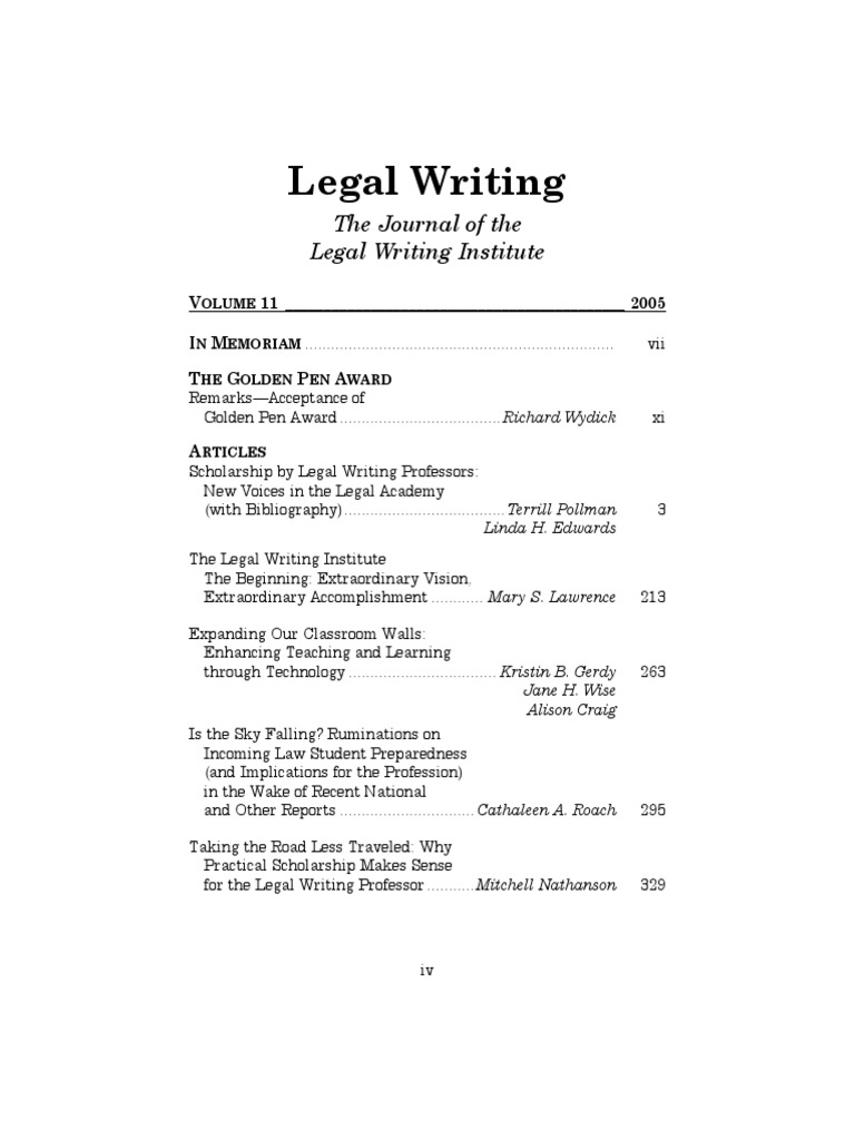 Legal Writing Journal Of Institute