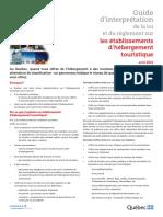 Guide d'interprétation de la loi et du règlement sur les établissements d'hébergement touristique