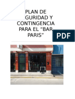 Plan de Seguridad y Contingencia Para El Bar Paris