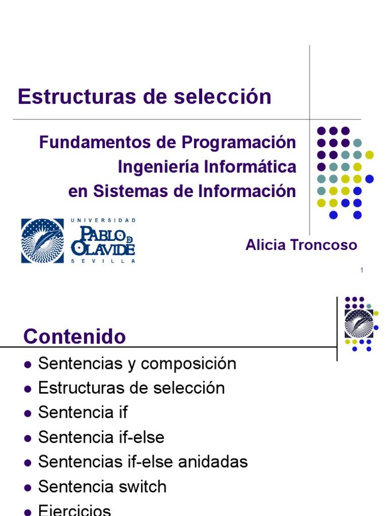 Estructuras De Selección Programación De Computadoras