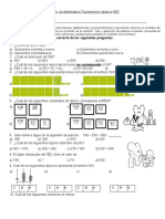 Evaluación de Matemática Números Hasta El 699
