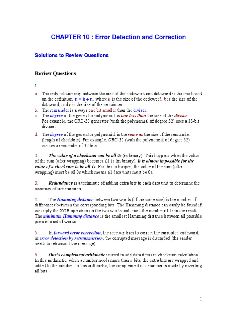 Solution Manual to Chapter 10   Error Detection And Correction   Discrete  Mathematics