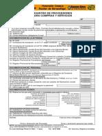 Planilla Registro de Proveedores Compra