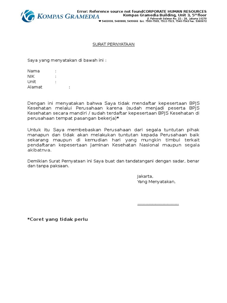 contoh surat pernyataan ketidak ikutsertaan bpjs pt