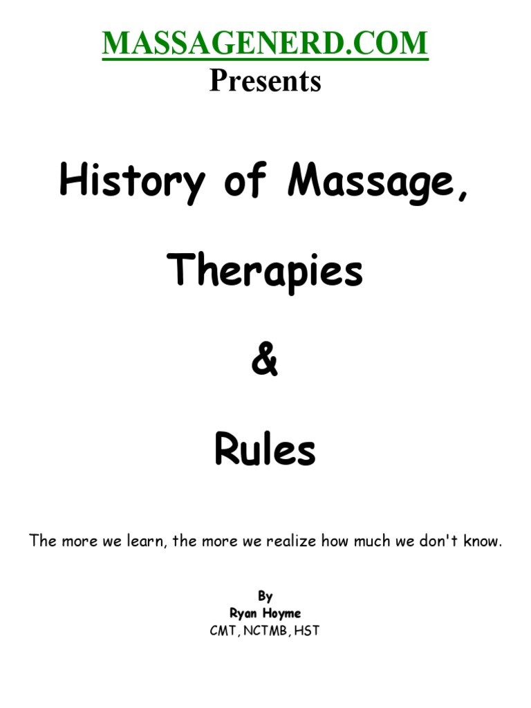 History Therapies Rules Ryan Hoyme | Massage | Physician