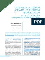 0700 A19P Un modelo para la gestión de los Recursos Tecnológicos Carlos A Benavides Velasco
