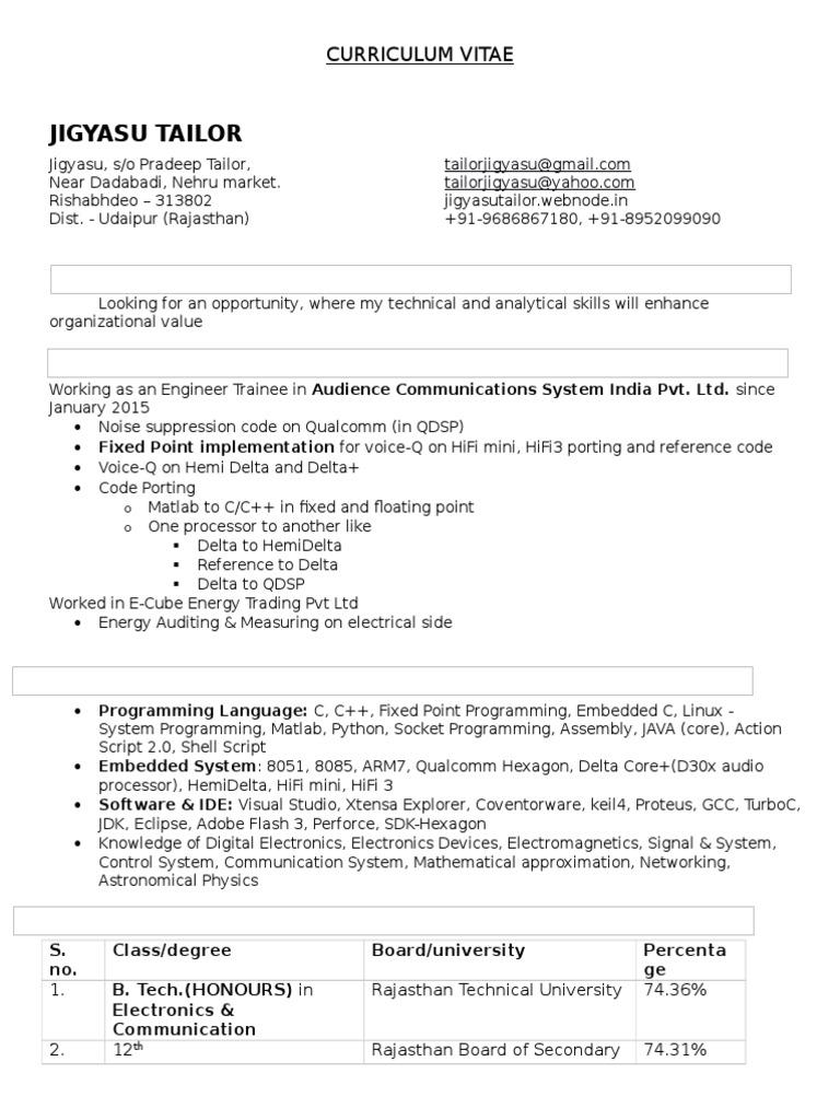 Jigyasu CV | Scripting Language | C (Programming Language)