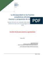 La Discapacidad en Las Fuentes Estadísticas Oficiales. Examen y Propuestas de Mejora (II)
