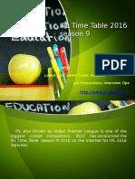 IPL Time Table 2016 season 9