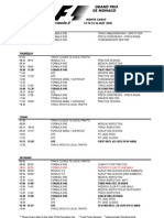 2010 Formula 1 Monaco Grand Prix Timetable (Draft)