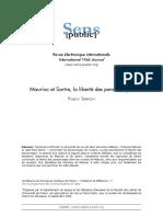 ŠPERKOVÁ, P. Mauriac Et Sartre, La Liberté Des Personnages