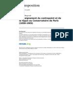 Enseignement Du Contrepoint Et de La Fugue Au Conservatoire de Paris 1858 1905