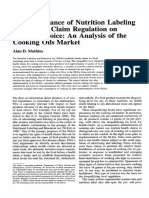 The Importance of Nutrition Labeling and Health Claim Regulation on Product Choice- An Analysis of the Cooking Oils Market