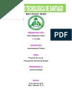 Proyecto de Ley de Presupuesto General Del Estado - Yelisa
