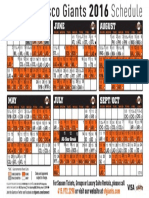 San Fran Giants 2016 Schedule